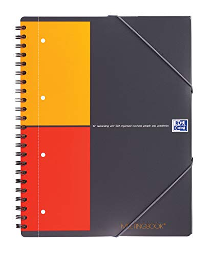 OXFORD 100100362 Meetingbook International A4 kariert 4-fach gelocht 2 in 1 Collegeblock und Gummizugmappe grau