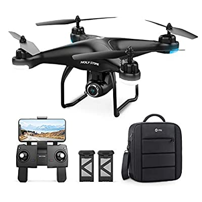 Holy Stone HS120D GPS Drone with Camera for Adults 1080p HD FPV, Quadcotper with Auto Return Home, Follow Me, Altitude Hold, Tap Fly Functions, Includes 2 Batteries and Carrying Backpack