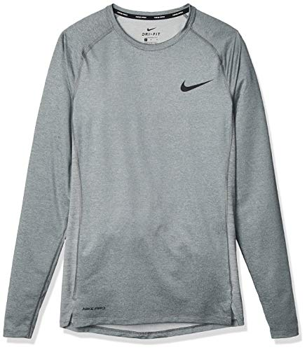 Nike NP Longsleeve Tight, T-Shirt Uomo, Grigio (Smoke Grey/Lt Smoke Grey/Black), S