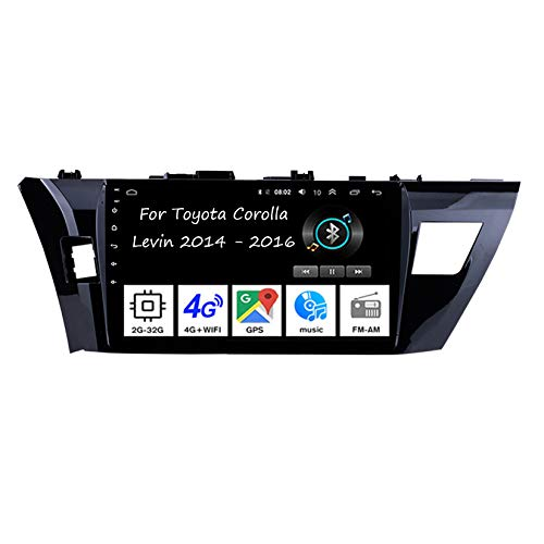 Android 10 Radio De Coche 9 Pulgadas Pantalla Tactil para Coche para Toyota Corolla Levin 2014-2016 4 Cores 2G+32G Android Auto Coche Conecta Y Reproduce Coche Audio Video SWC Cámara Trasera