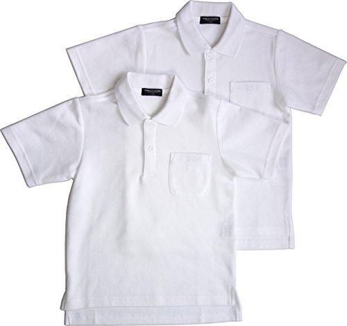2枚組 吸汗速乾 カノコ 半袖スクールポロシャツ 白 男女兼用 東洋紡生地「アルティマ」使用 150㎝