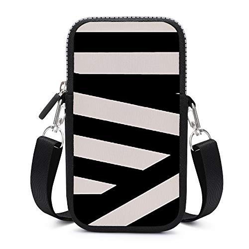 Monedero para teléfono móvil, con correa de hombro extraíble, color blanco y negro, bolsa impermeable para dinero y muñeca, para gimnasio, para hombre