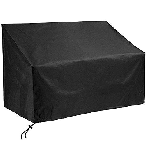 iSun 2/3/4 Seater Garden Bench Cover - Extra Large, Elasticated Long Patio Chair Covers, xl Waterproof Heavy Duty, Black for Outdoor Furniture Protection, Love Seat Protector with Storage Bag