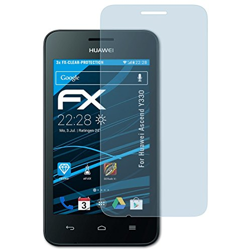 atFolix Schutzfolie kompatibel mit Huawei Ascend Y330 Folie, ultraklare FX Bildschirmschutzfolie (3X)