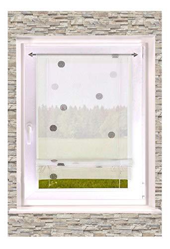 Transparentes Raffrollo Bändchenrollo Punkt grau mit Tunnelzug BxH 60x135cm Badgardine Küchengardine