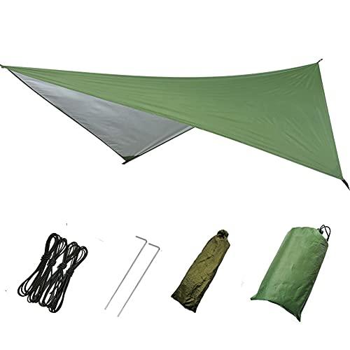 防水タープ 天幕 シェード テント タープ 遮熱 撥水加工 耐久 サンシェルター キャンプ アウトドア ポータブル 大型 軽量 紫外線 UV カット 日よけ 収納ケース付 2-6人用 (迷彩)