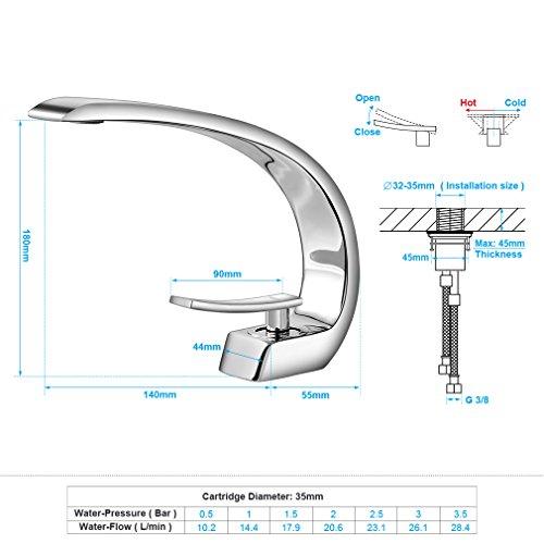 BONADE® Wasserfall Einhebel-Waschtischarmaturen Mischbatterie Wasserhahn Bad Armatur für Badezimmer Waschbecken, 59 Kupfer, Chrom - 2
