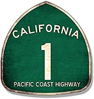VINTAGE Pacific Coast Highway 1 Sign Shaped Sticker (pch california route)- Sticker Graphic Decal