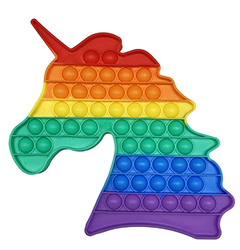 pop it unicorno arcobaleno CRAZYCHIC - Pop It Gigante Fidget Toy - Popit Grande Push Bubble Giocattolo Bambini Adulti - Gioco Antistress Rilassante Multicolore - Poppit Color Arcobaleno Ragazza Ragazzo - Unicorno