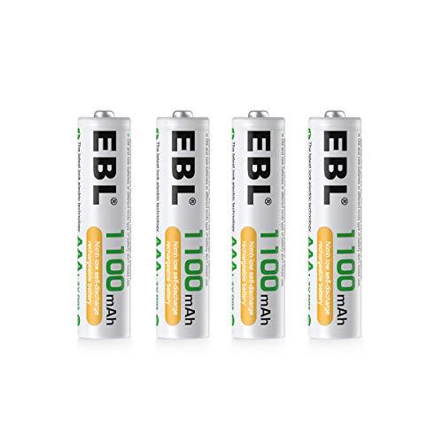 EBL 単4形充電池 充電式ニッケル水素電池 高容量1100mAh 4本入り 約1200回使用可能 ケース1個付き 単四充電池 AAAバッテリ AAA battery 単4電池充電式 防災電池