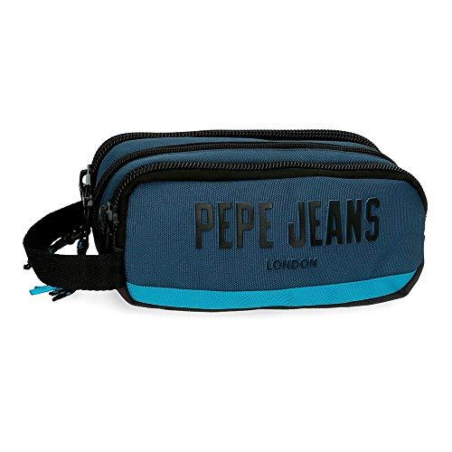 Pepe Jeans Skyler Estuche Triple Cremallera Azul 22x10x9 cms Poliéster