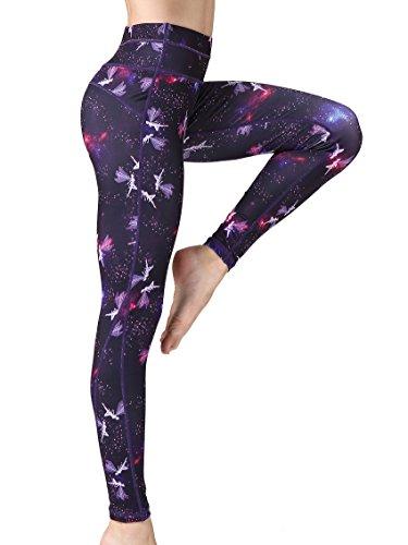 FLYILY Mallas Deportivas Mujer Pantalones impreso Leggings Deportes para Running Yoga Fitness Gym(AngelPrint,S)