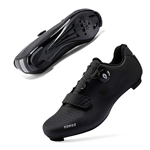 Mens or Womens Road Bike Cycling Shoes Peloton Bike Shoes Compatible SPD Riding Shoe Indoor/Outdoor Size Men's 6.5/Women's 8.5 Black