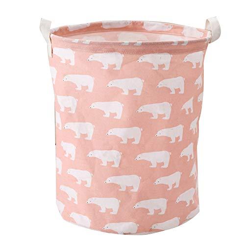 Sungpunet - Cesta plegable para la colada con diseño de oso polar, gran cubo impermeable, cesta para la ropa sucia, cesta para la colada, caja de almacenamiento para la colección de color rosa
