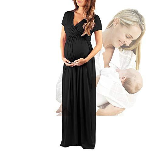 BDTOT Pijamas de Maternidad Nuevo Vestido De Gran Tamaño con Cintura Elástica Plisada Y Manga Corta con Cuello En V Sexy para Mujeres Embarazadas