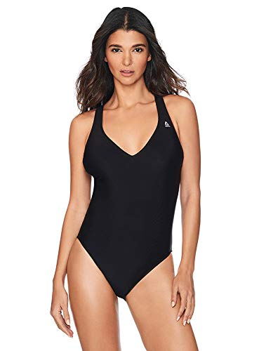 Reebok Lifestyle Women's Swimwear Plunge V-Neckline One Piece Swimsuit, Black, Small