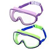 HeySplash [2PZS Gafas de Natación para Niños Transparente Sin Fugas Anti-vaho, Antiniebla Gafas...