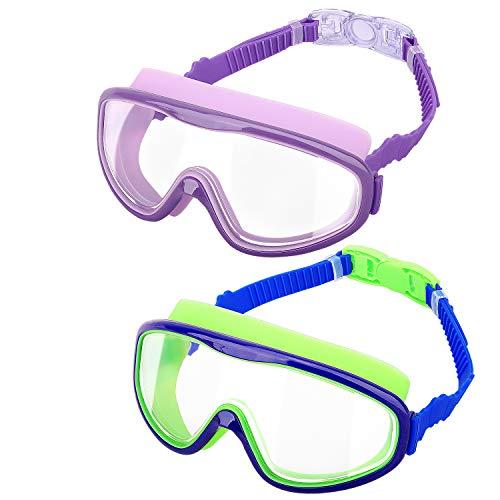 HeySplash Occhialini Nuoto Bambini, [2 Pezzi] Occhiali da Nuoto Protezione UV Anti-Appannamento Visione Chiara, con Clip per Naso & Tappi Orecchie per Bambini - Viola & Blu