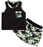 4th of July Baby Boys Summer Outfits Sleeveless T-Shirt Top American Flag Short Pants Independence Day Sets (4T, Green)