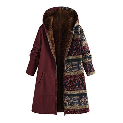 TOPKEAL Jacke Warme Mantel Damen Herbst Winter Sweatshirt Blumendruck mit Kapuze Kapuzenjacke Hoodie Taschen Pullover Übergroße Outwear Coats Mode Tops (Wein, XXXXXL)