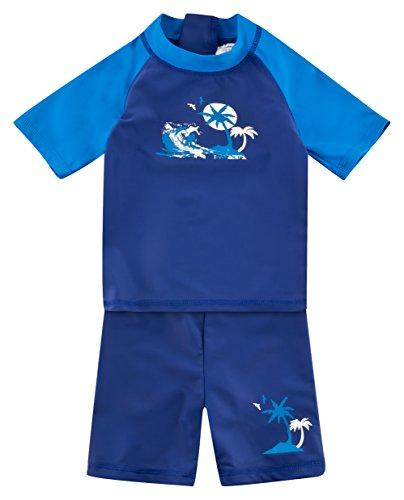 Landora®: Baby- / Kinder-Badebekleidung kurzärmliges UV-Schutz 2er Set in Marine, Größe 98/104