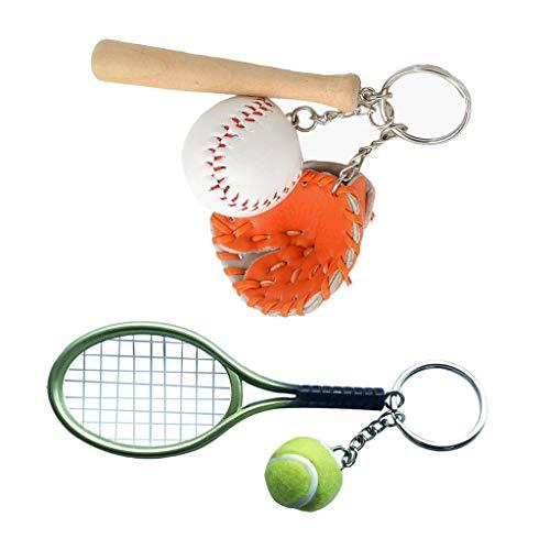 Colcolo 2 Piezas Aleación Guante de Béisbol Pelota de Tenis Llavero Deportes