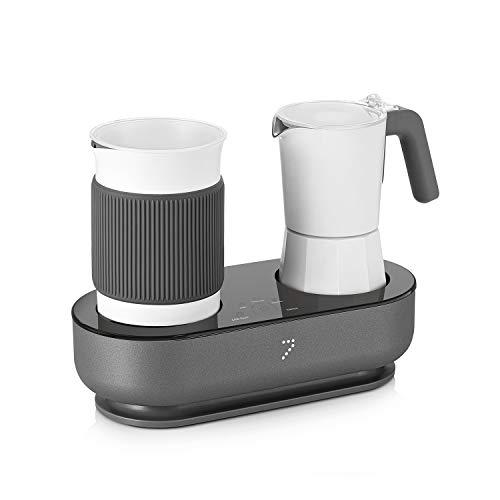 SEVEN&ME Kaffeemaschine, Milchaufschäumer, Latte, Cappuccino, Macchiato, elektrischer Espresso-Moka-Kanne, gebrühtem Kaffee und Schaummilch gleichzeitig.