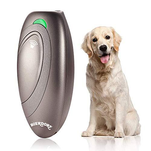 BIERDORF Antibellgerät, Ultraschall Bellkontrollgerät, Hundetrainingshilfe mit Kontrollbereich bis 16,4 Fuß, Batterie mitgeliefert, LED-Anzeige, Tragbar für Außen- und Innenbereich, Sicher, Braun