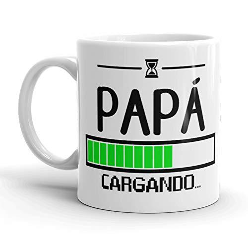 Kembilove Taza de Café con Frase Graciosa Papá Cargando – Taza de Desayuno para Regalar el día del Padre – Tazas de Café y Té para Padres y Abuelos – Regalo Original Día del Padre