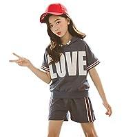 Ohimawari(おひまわり) キッズ ジャージ スウェット 上下 女の子 子供服 セットアップ ハーフパンツ 半袖tシャツ スポーツウェア ジュニア ガールズ ルームウェア 夏 ブルー 140cm
