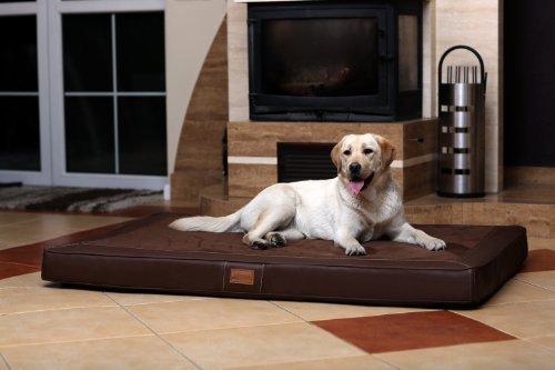 tierlando Oscar VIP Ortho Hundematratze Kunstleder Velours Orthopädisches Hundebett VISCO Größe: OS6 150cm | Farbe: AL-02 Graphit