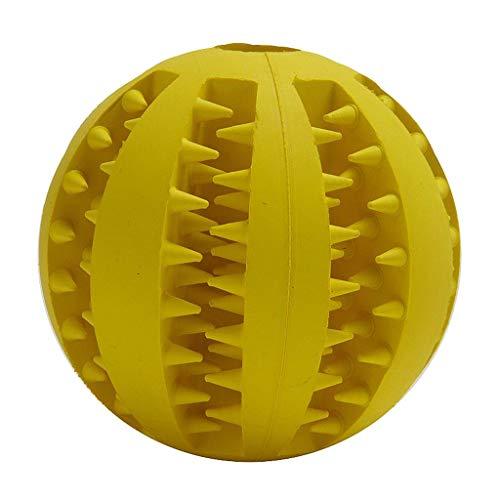 FLAMEER Hundeball mit Zahnpflege-Funktion Noppen Hundespielzeug Kauspielzeug interaktives Spielzeug für Hunde Welpen - Gelb, 5cm
