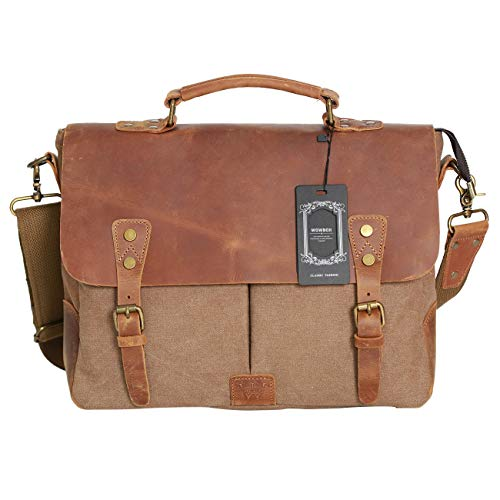Wowbox Messenger Satchel Bag for Men and Women,Vintage Canvas Real Leather 14-inch Laptop Briefcase for Everday use 13'(L) x10.5(H) x 4.1'(W)(Gray)