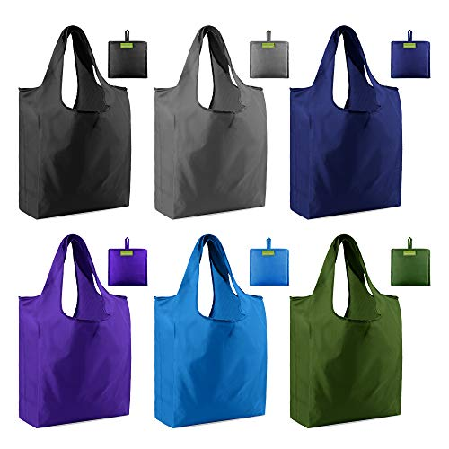 Grocery Bags Reusable Shopping Totes Foldable 6 Pack Ripstop 50LBS XLarge folding Bags with Pouch Shopper Bags Bulk Machine Washable Waterproof Eco-Friendly Black Royal Purple Teal Gray Moss …