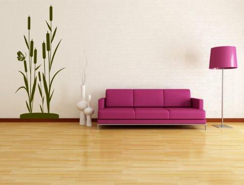 Wandtattoo Bambus, Schilf Strauch original Stickerkoenig (#WT-Schilf Größe:80cm hoch x 35cm breit ) Farbe frei wählbar