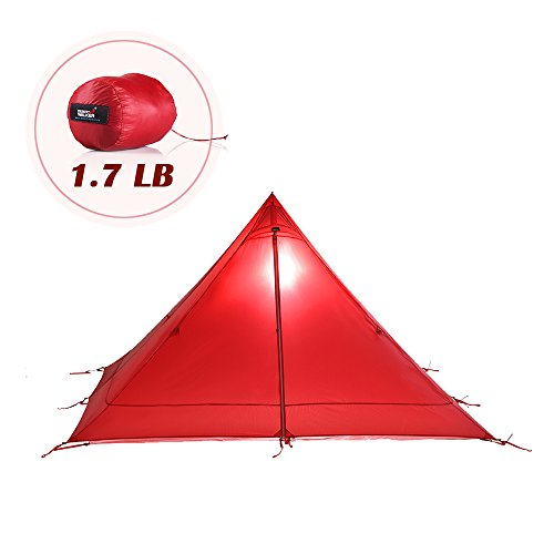 DESERT WALKER 1.7LB Camping Tent 1 Person Backpacking Tent 4 Seasons 15D Nylon Double-Side Silicone Coating Ultralight Tent Waterproof 3000MM Windproof Lightweight Tipi Tents Camping (red)