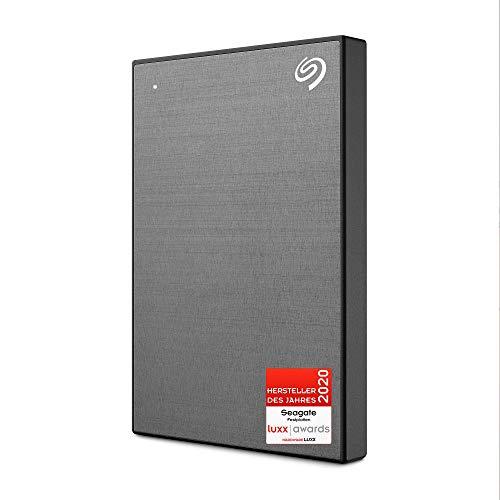 Seagate One Touch tragbare externe Festplatte 2 TB, PC, Laptop & Mac, USB 3.0, Space Grau, inkl. 2 Jahre Rescue Service, Modellnr.: STKB2000404