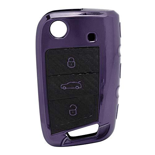 Carcasa de llave inteligente, Fob de entrada de automóvil, Llave remota Carcasa de fibra de carbono Carcasa de llavero, Piezas de llave de entrada remota Cubierta de(purple)