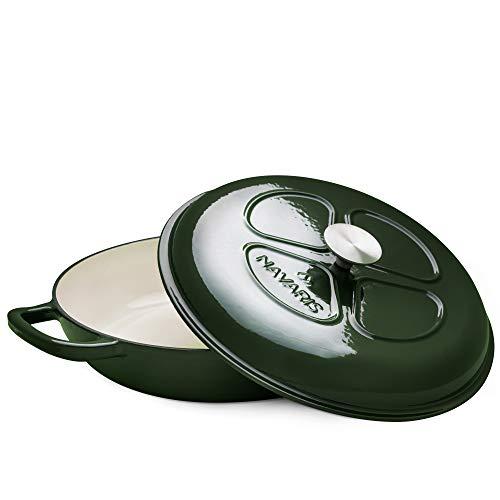 Navaris Cacerola de Hierro Fundido con Tapa - Cazuela de 3.5 L con Asas para cocinar en Horno Plancha inducción - Olla cocotte Redonda de 40 CM Verde