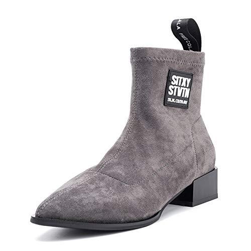 Botas cortas de gamuza puntiaguda, botas elásticas para mujer primavera y otoño invierno medio tubo botas de tobillo de tacón grueso tendencia botines adelgazantes, gris, 36