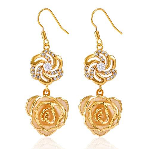 Pendientes colgantes de flores Pendientes largos chapados en oro de 24 quilates Pendientes de rosas Pendientes colgantes indios de rosas sumergidas Joyas para su regalo de cumpleaños para mujeres