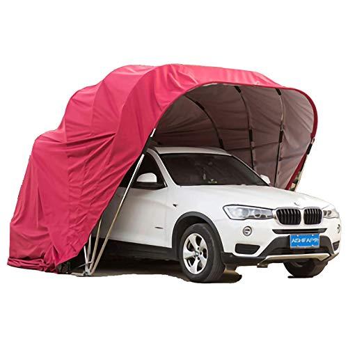 A&DW Autohaus, Autodach, Parkplatz, faltbar, Edelstahl, mobiles Garagenzelt Wasserdichter Anti-UV-Schutz Wind Schnee,Rot,250 X 600cm