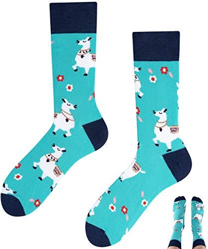 TODO COLOURS Casual Mix & Match Socken - Alpaka Lama - mehrfarbige, verrückte, bunte Socken (39-42, Alpaca-Lama)