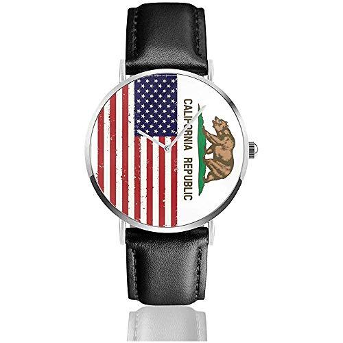 Amerikanische kalifornien Flagge bär Uhr männer 's pu lederarmband 38mm Uhr Edelstahl Quarz Unisex