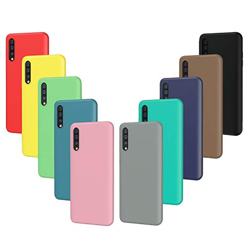 VGUARD 10x Custodia Cover per Samsung Galaxy A50 / A50S / A30S, Sottile Morbido TPU Silicone Protettiva Case (Nero, Grigio, Blu Scuro, Blu Cielo, Blu, Verde, Rosa, Rosso, Giallo, Marrone)