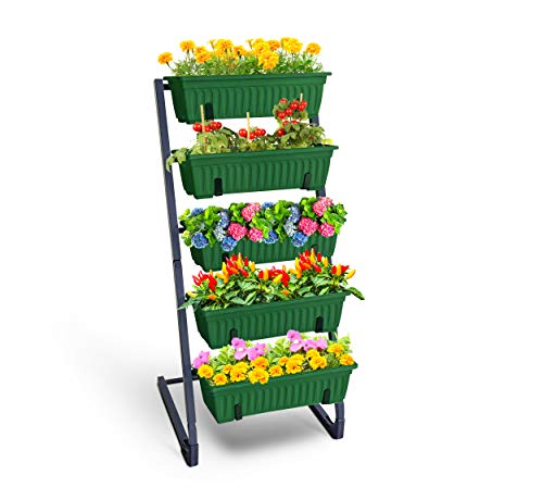 Vertical Garden Planter Vertical Raised Garden Bed 5 Tiered Planters for Outdoor Plants with Plant Tags for Herb Flower Vegetable Container Gardening in Indoor Deck Patio Balcony Garden 4Ft
