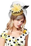 Roman Originals Tocado grande de velo de flores para mujer, ideal para ocasiones especiales de noche, boda, invitada, madre de la novia, novio Ascot Races Day accesorio decorativo para sombreros