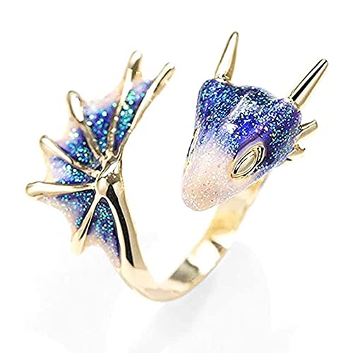 FHK Anillo dragón caballero negro, anillo pterodáctil, anillo abierto pterodáctil, joyas de moda únicas, joyas de moda negras, anillo de dragón, unisex, Piedra preciosa.,