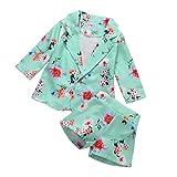 I3CKIZCE - Conjunto informal de 2 piezas con diseño de flores para bebé niña de 1 a 5 años, con botón de manga corta y pantalón corto y cintura elástica azul 3-4 Años
