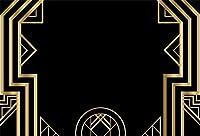 GooEoo アールデコ調のビンテージ背景5x3ft写真の背景黄金の抽象的な幾何学的な3D飾りモダンなスタイルの背景結婚式のパーティー黒の背景